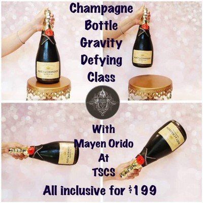 NEW DATE: SUNDAY MARCH 24 from 9:45 am to 4:30 pm Champagne Bottle -Gravity-Defying- Cake Class with Mayen Orido,  Plus many more extras!