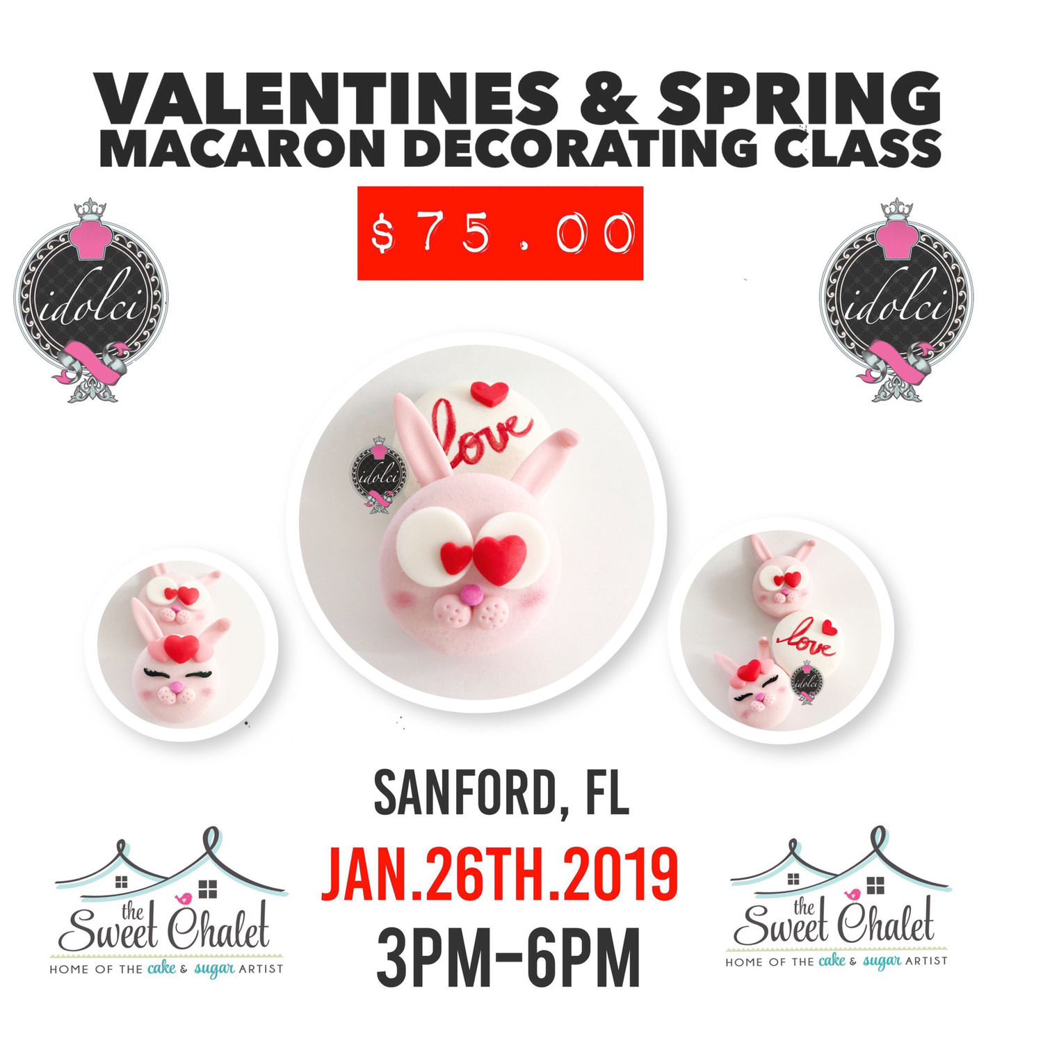 Valentines & Spring Macaron Decorating Class January 26 3 PM - 6 PM