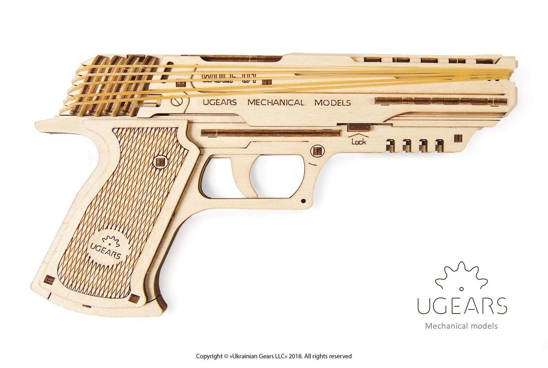 Конструктор 3D-пазл UGEARS Пистолет Вольф-01