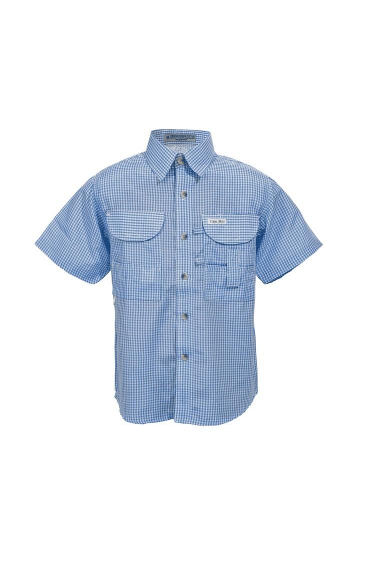 Tiger Hill Boys Gingham Fishing Shirt Short Sleeves