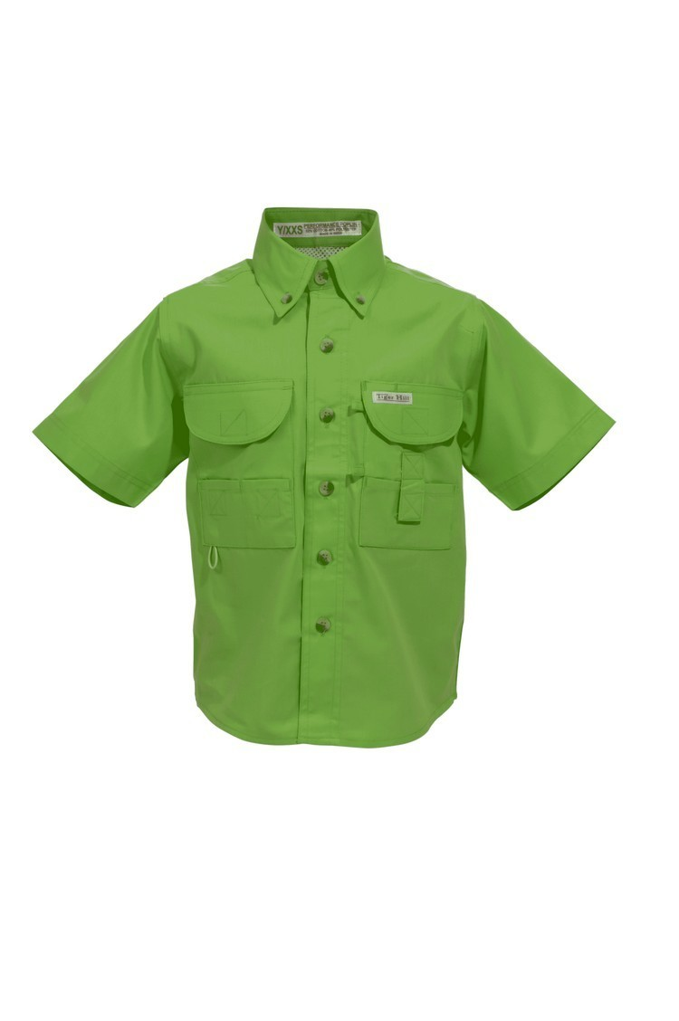 Tiger Hill Childrens Lime Green Fishing Shirt Short Sleeves
