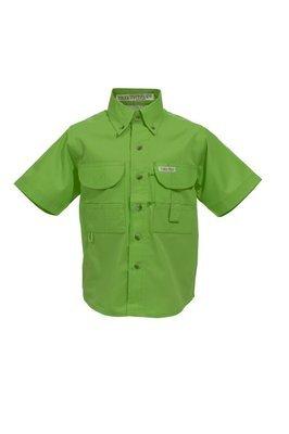 Tiger Hill Childrens Lime Green Fishing Shirt Short Sleeves
