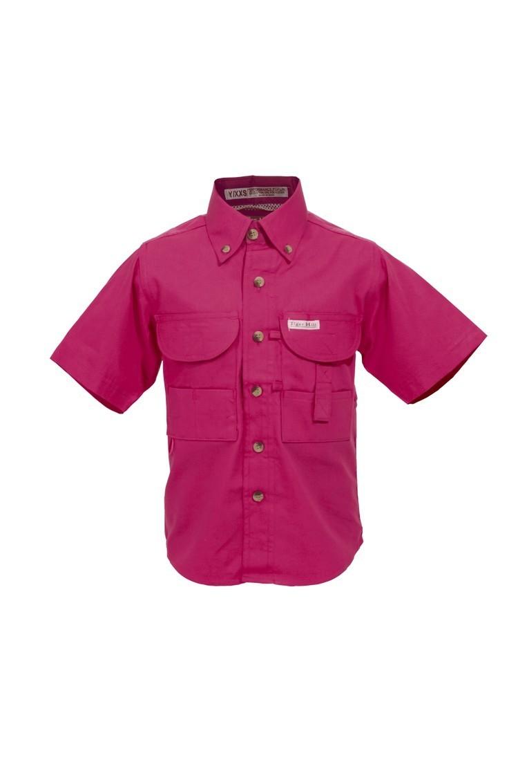 Tiger Hill Childrens Pink Fishing Shirt Short Sleeves