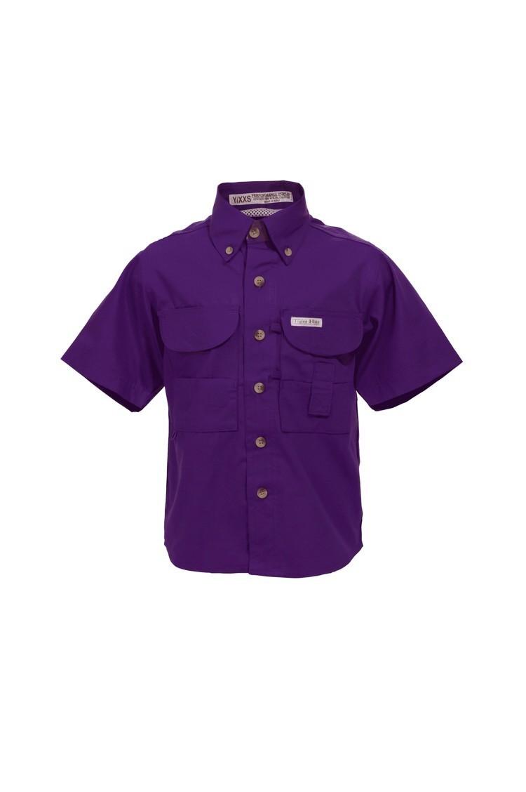 Tiger Hill Childrens Purple Fishing Shirt Short Sleeves