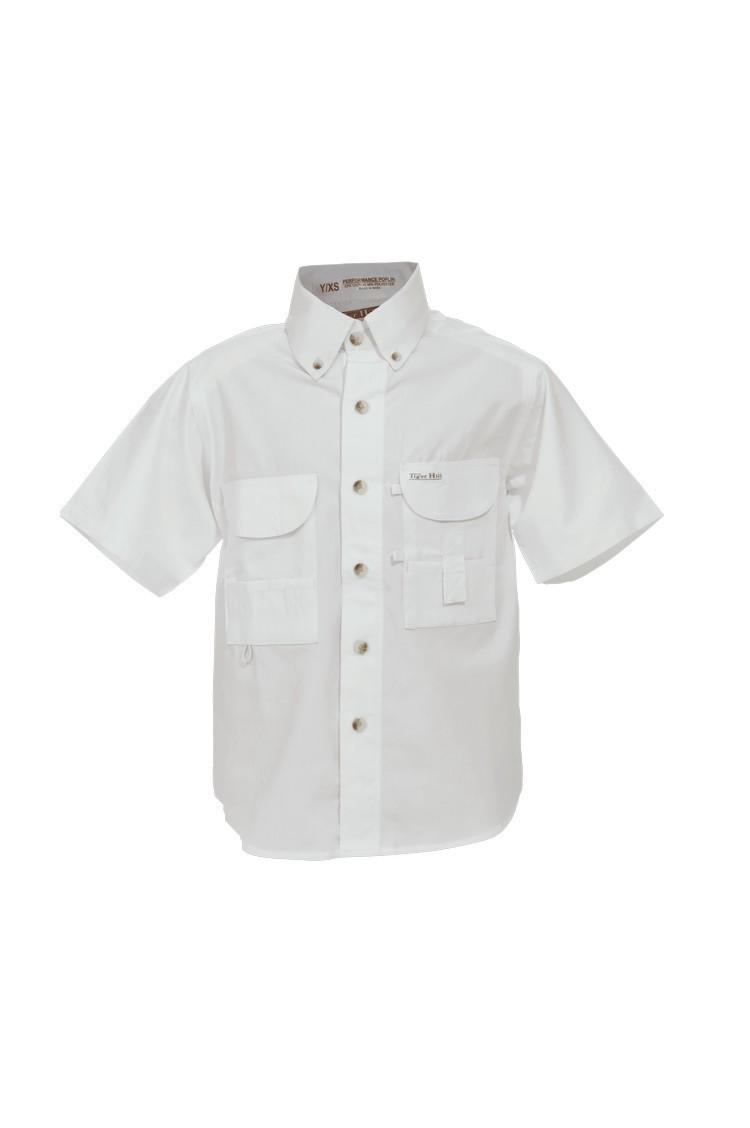 Tiger Hill Childrens White Fishing Shirt Short Sleeves