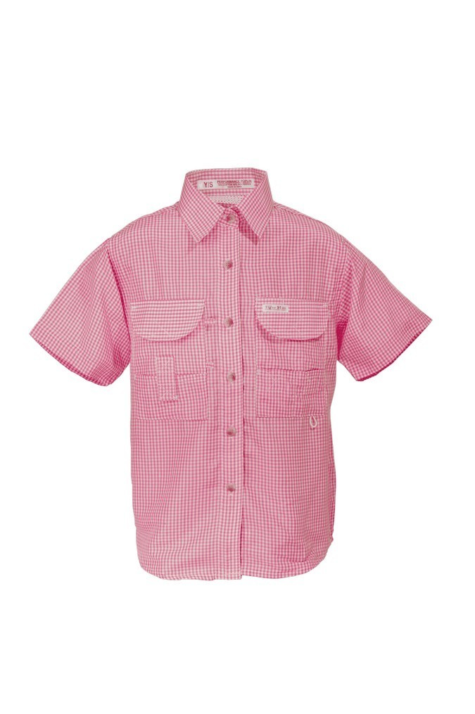 Tiger Hill Girls Gingham Fishing Shirt Short Sleeves