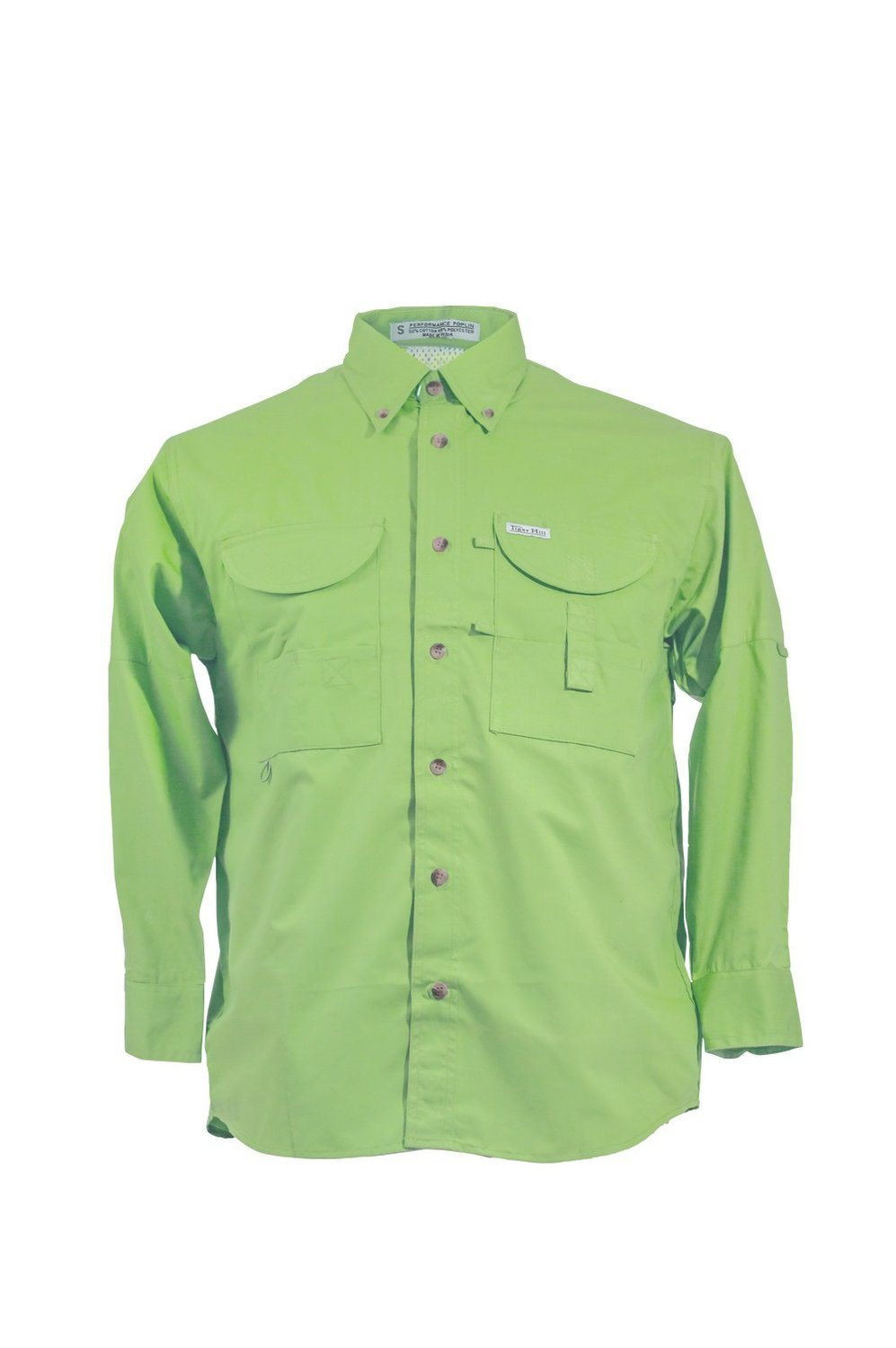 Tiger Hill Men's Fishing Shirt Long Sleeves Lime Green