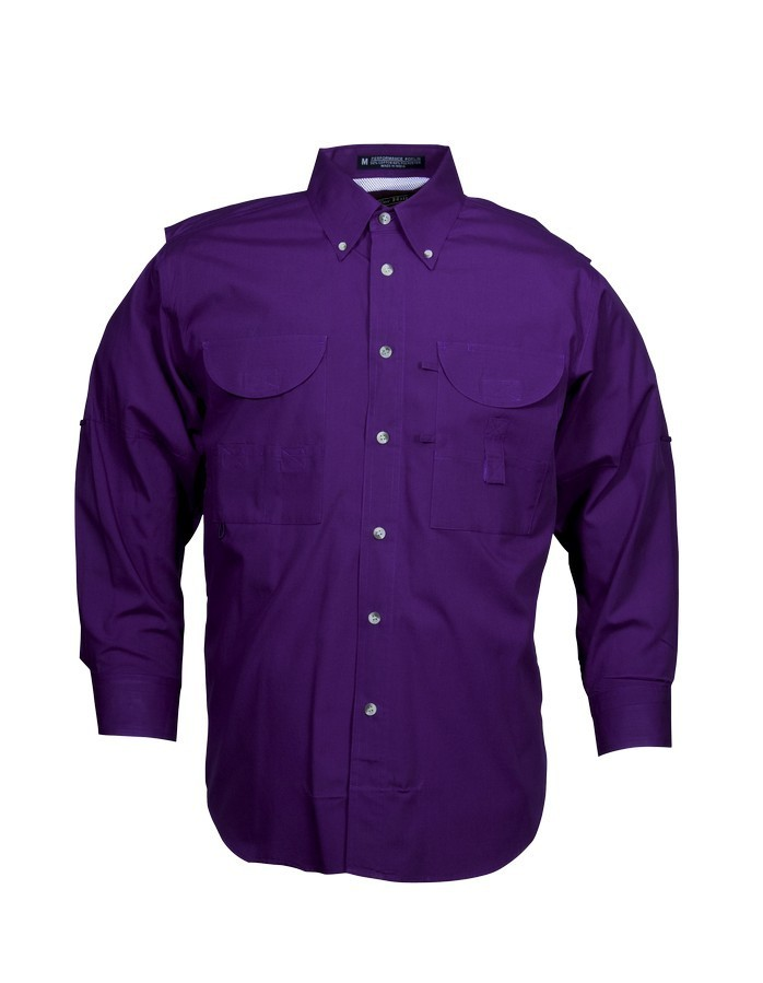 Tiger Hill Men's Fishing Shirt Long Sleeves Purple