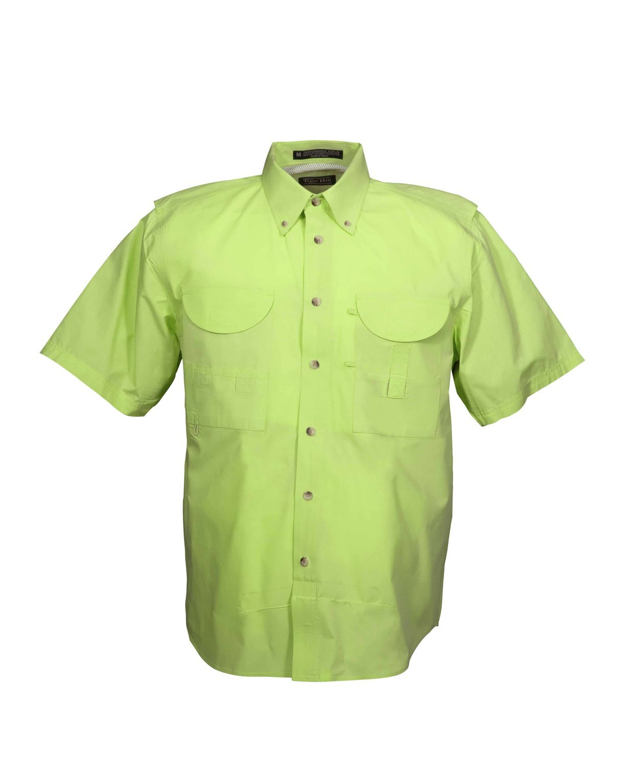 Tiger Hill Men's Fishing Shirt Short Sleeves Lime Green