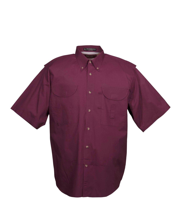 Tiger Hill Men's Fishing Shirt Short Sleeves Maroon