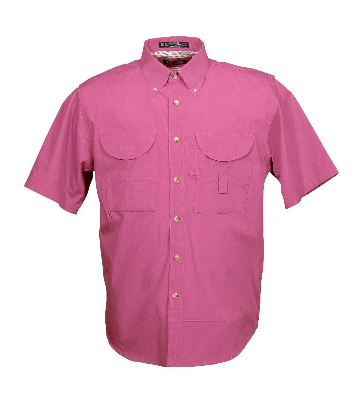 Tiger Hill Men's Fishing Shirt Short Sleeves Pink