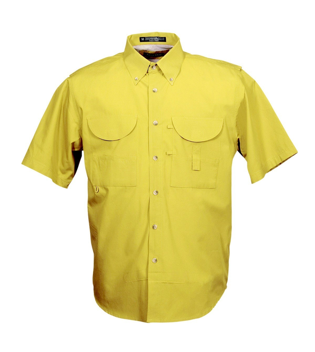 Tiger Hill Men's Fishing Shirt Short Sleeves Yellow