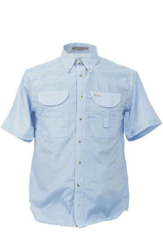 Tiger Hill Men's Gingham Fishing Shirt Short Sleeves Blue