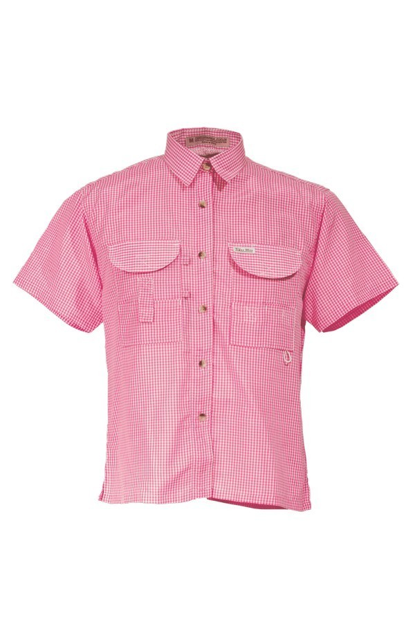 Tiger Hill Ladies Gingham Fishing Shirt Short Sleeves Pink