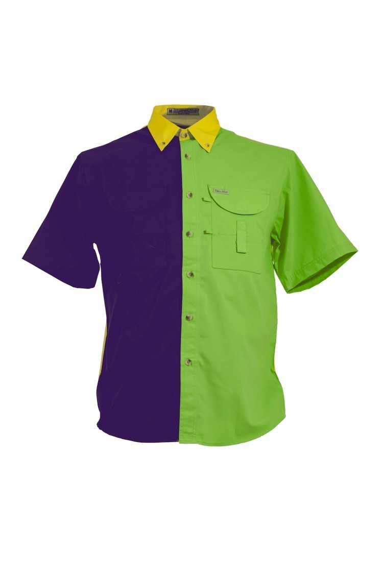 Mardi Gras Men's Fishing Shirt Short Sleeves