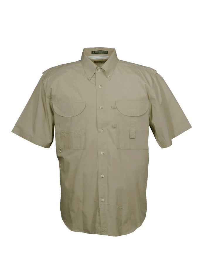Tiger Hill Men's Fishing Shirt Short Sleeves Khaki
