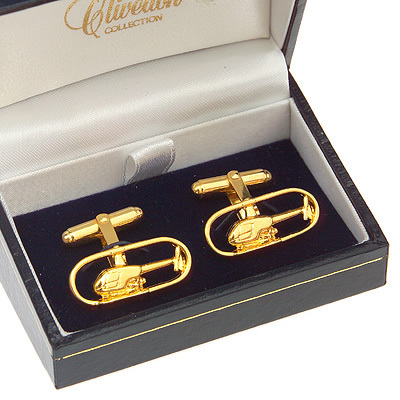 Robinson R22 Helicopter Cufflinks Gold Plated