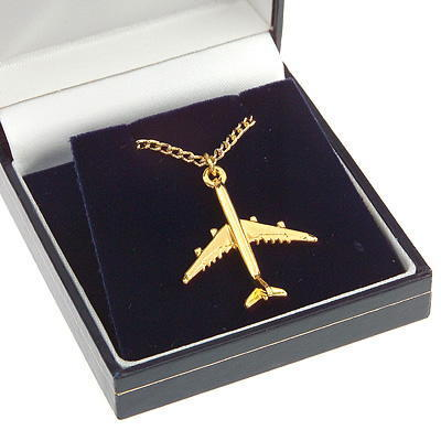 Airbus A340 Pendant Gold Plated