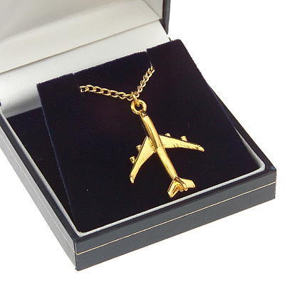 Boeing 747-400 Pendant Gold Plated