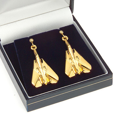 F14 Tomcat Earrings Gold Plated