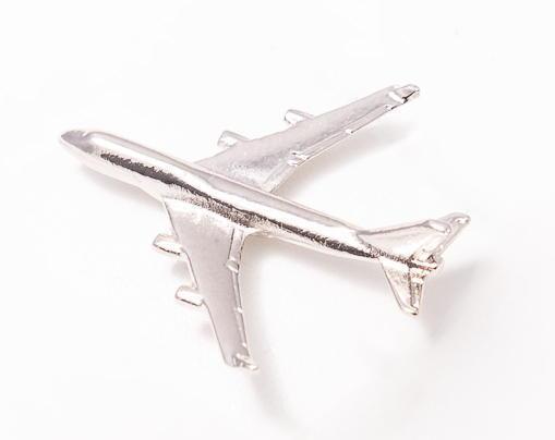 Boeing  747-400 Nickel Plated Tie / Lapel Pin