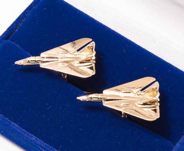 F14 Tomcat Cufflinks Gold Plated