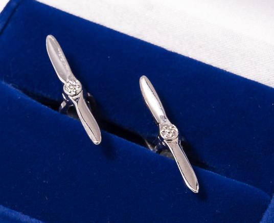 Propeller Cufflinks Nickel Plated