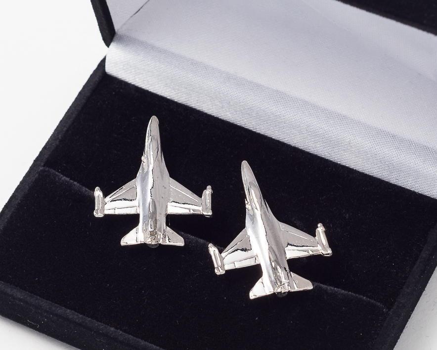 F16 Fighting Falcon Cufflinks Nickel Plated