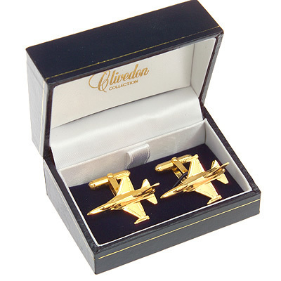 F16 Fighting Falcon Cufflinks Gold Plated
