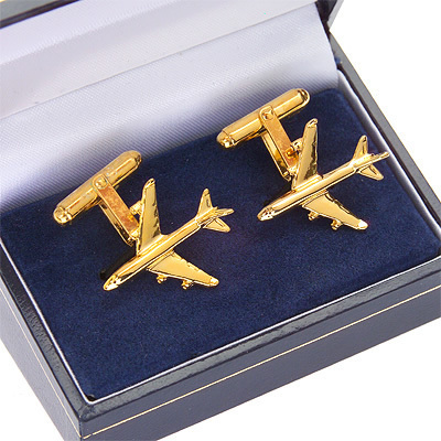 Boeing 747-400 Cufflinks Gold Plated