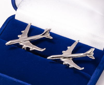 Boeing 747-400 Cufflinks Nickel Plated