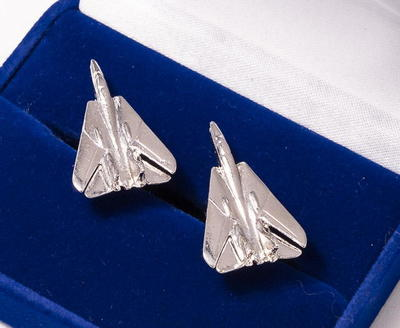 F14 Tomcat Cufflinks Nickel Plated