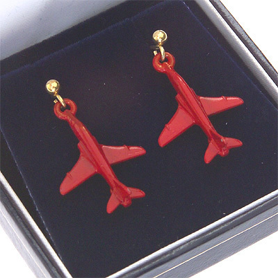 Red Arrows Earrings Enamel