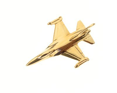 F16 Fighting Falcon Gold Plated Tie / Lapel Pin