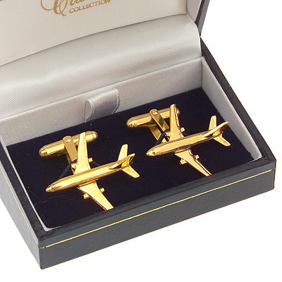 Boeing 737 Cufflinks Gold Plated