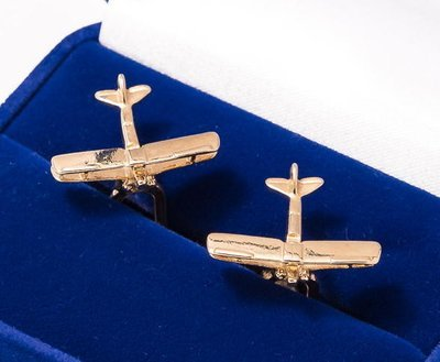 Tiger Moth Cufflinks Gold Plated