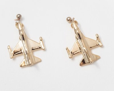 F16 Fighting Falcon Earrings Gold Plated