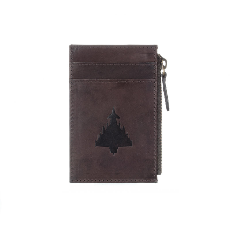 Brown Leather Zipped Card Holder - Eurofighter Typhoon
