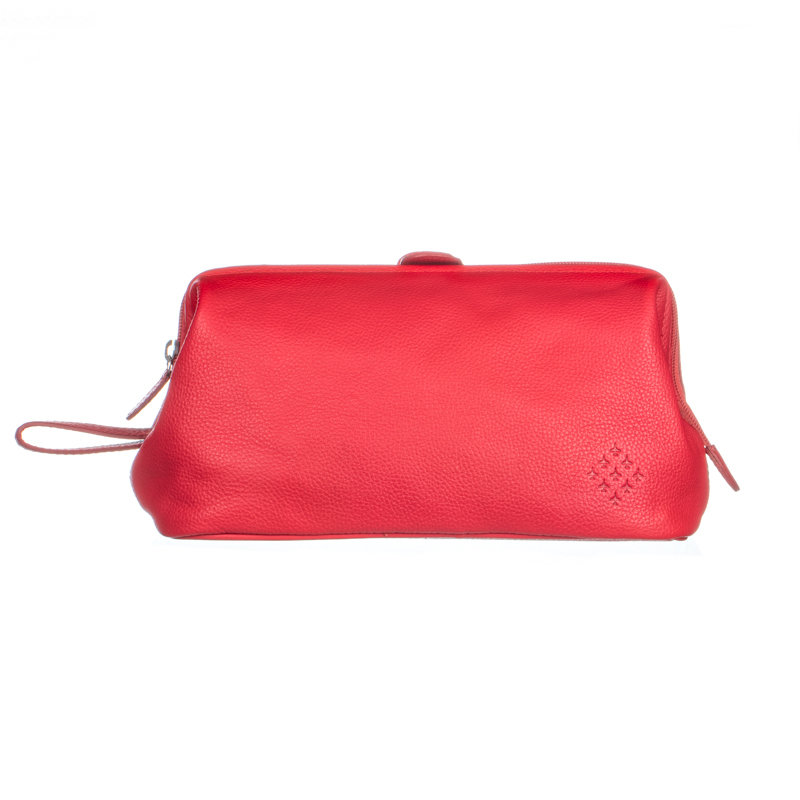 Red Leather Wash Bag - Red Arrows