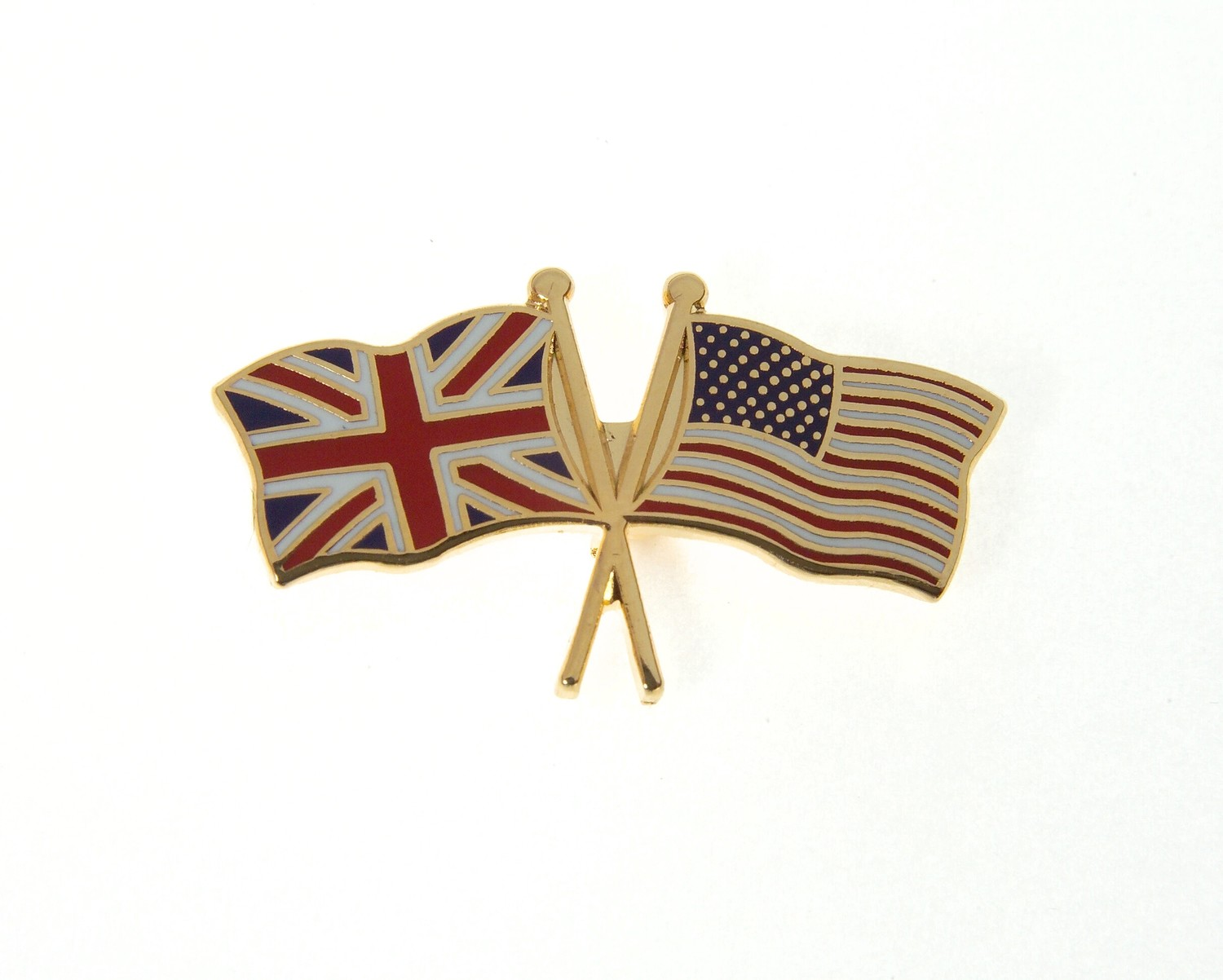 UK / US Crossed Flags Tie / Lapel Pin