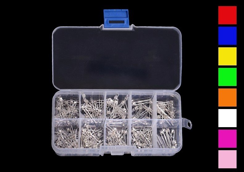 180 Piece 3mm LED Assortment Kit
