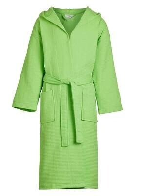 Kids Unisex Hooded Waffle Robe Lime S/M