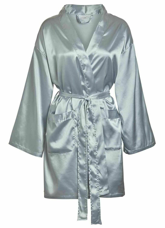 Women Front Pocket Satin Short Robe Silver