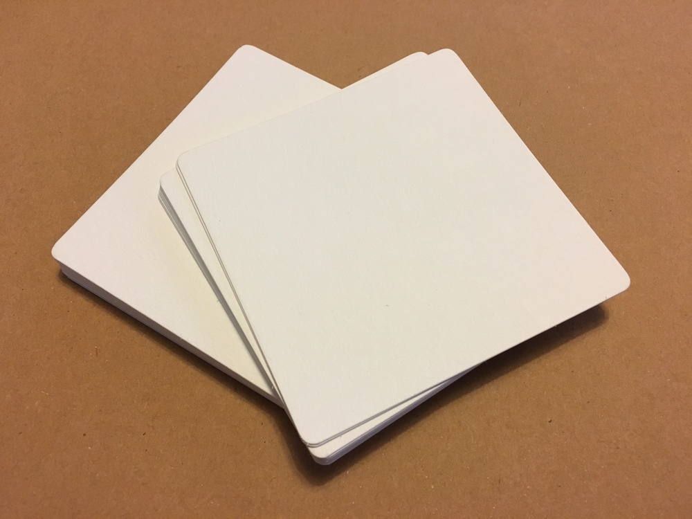 """30 -  White 3 1/2"""" square tangle tiles paper weight 140lb cold press"""