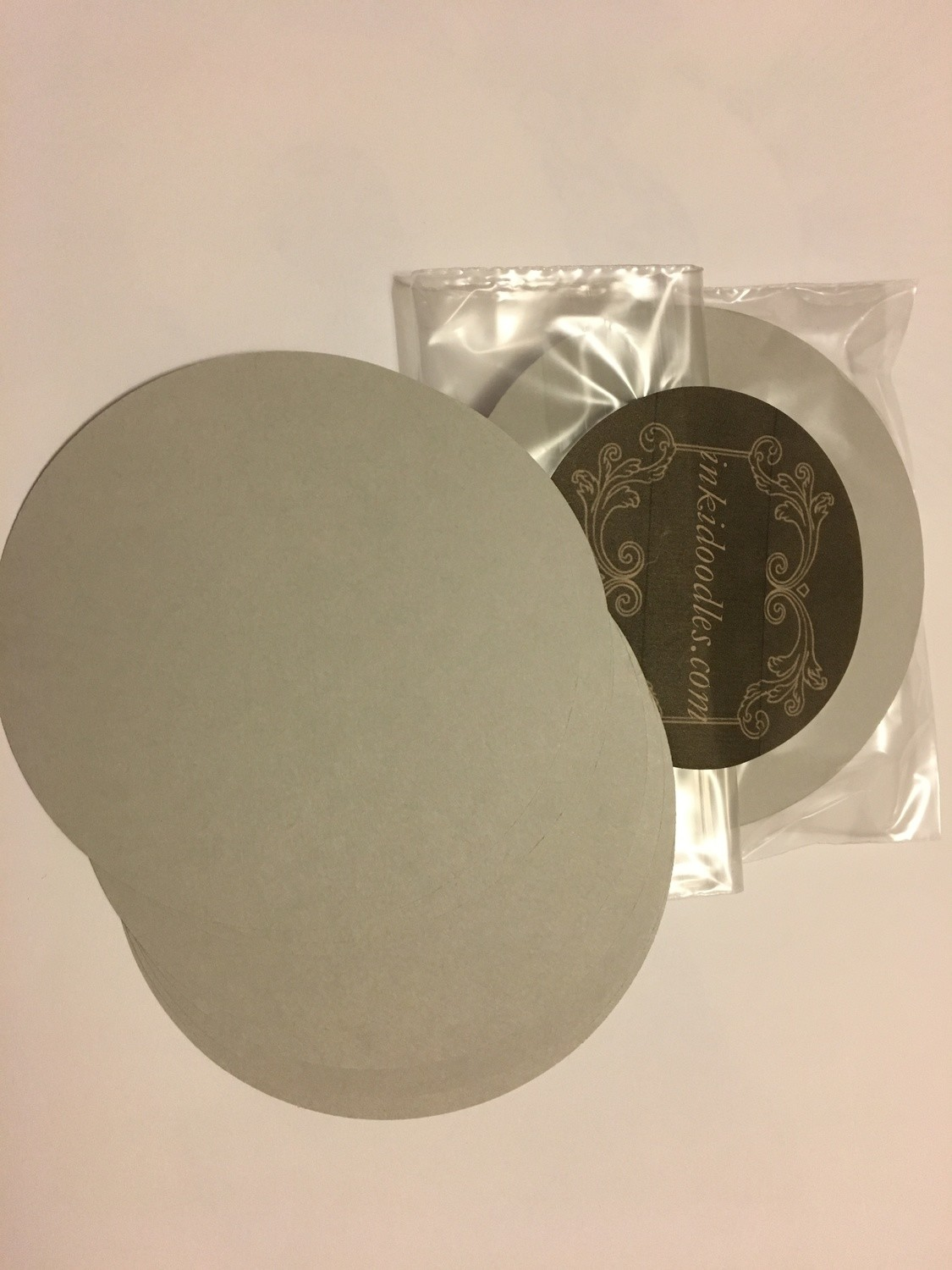 "30- 3 1/2"" round Gray tiles 65# smooth finish paper"