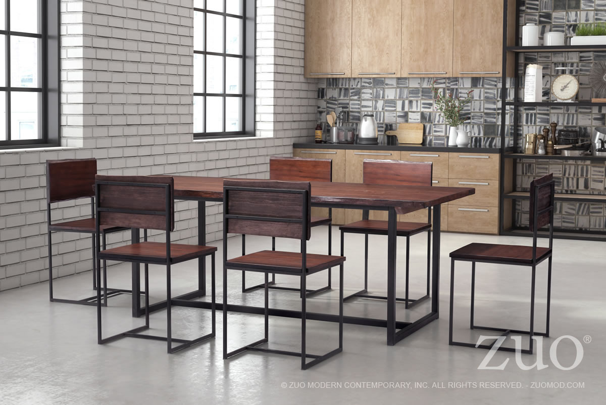 Papillion Industrial Modern Dining Table Live Edge