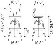 Gering Industrial vintage modern adjustable Bar Stool