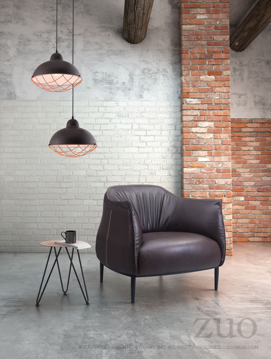 Julian Industrial Modern Occasional Chair in Espresso