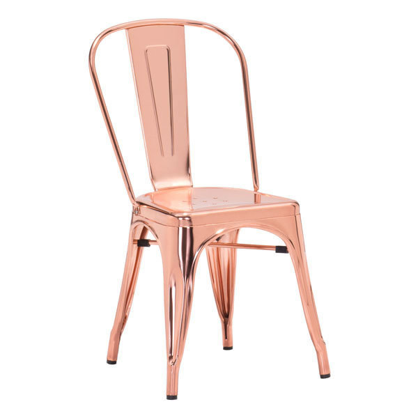Elio Industrial Modern Dining Chair Rose Gold 108061-EB