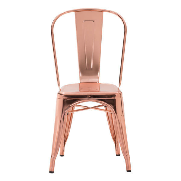 Elio Industrial Modern Dining Chair Rose Gold